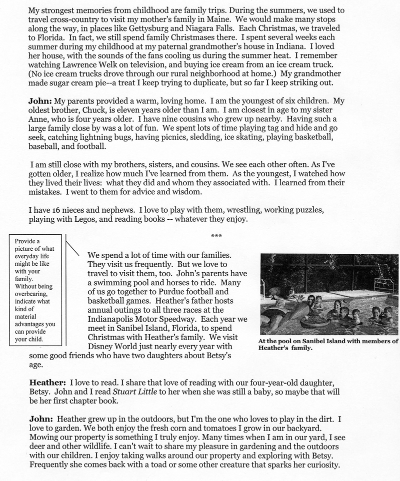 WeissWrite: Sample Birth Mother Letter 2
